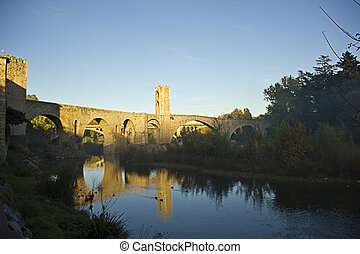 Bridge in the city of Besalu (Catalonia, Spain)