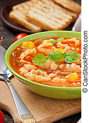 Minestrone, italian vegetable soup with pasta