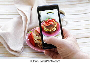 smartphone shot food photo - pancakes for breakfast with...