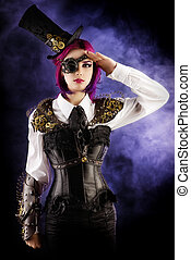 subculture - Girl in a stylized steampunk costume posing on...