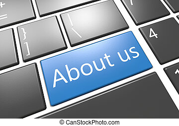 About us - keyboard 3d render illustration with word on blue...