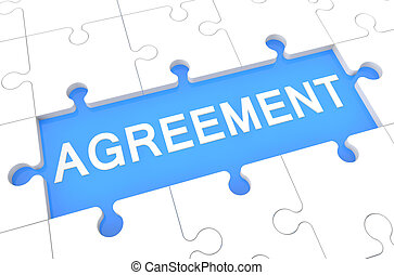 Agreement - puzzle 3d render illustration with word on blue...