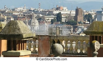 chimney smoke in Rome - modern smoking chimney in Rome,...