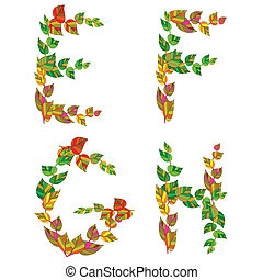 English alphabet made ??up of branches and leaves.