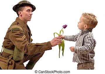 flor, jovem, britânico, soldado, criança, dá