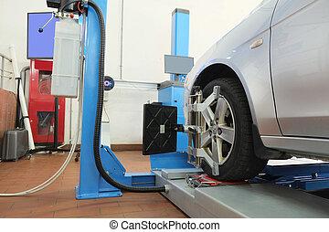 coche, reparación, garaje