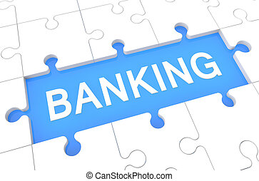 Banking - puzzle 3d render illustration with word on blue...