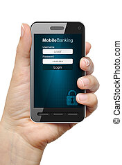 Mobile banking concept - Mobile phone in female hand with...