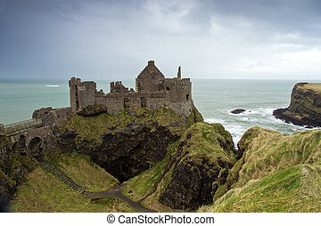 Dunluce Castle, a ruined medieval castle in Northern Ireland...