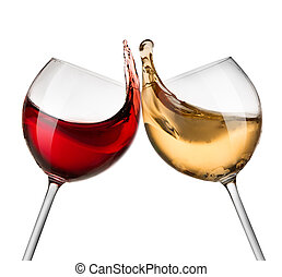 Red and white wine waves isolated on white