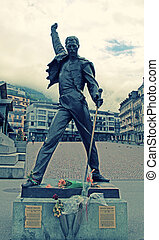 Freddie Mercury statue in Montreux, Switzerland - MONTREUX,...