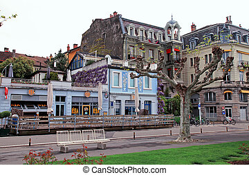 Street in Vevey, Switzerland - Vevey, Switzerland - May...