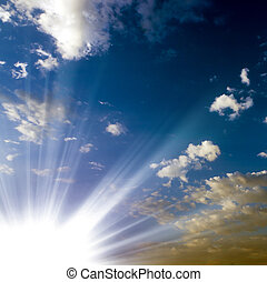 sun sky blue on a sunny summer day