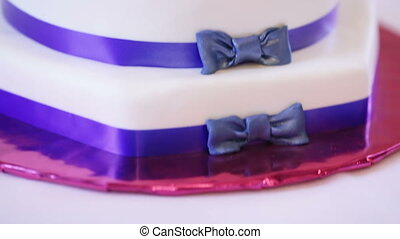 Wedding cake with blue stripes