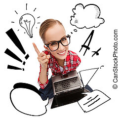 smiling teenage girl in eyeglasses with laptop - education,...
