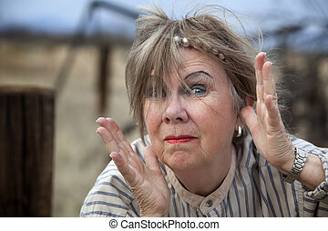 Crazy Woman - Crazy old woman outdoors with wild makeup
