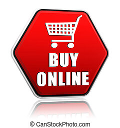buy online and shopping cart sign on red hexagon banner -...