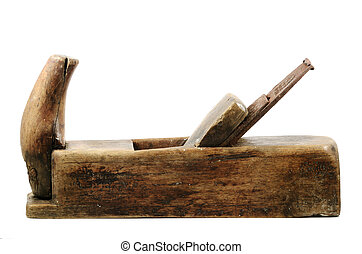 old wooden plane on a white background