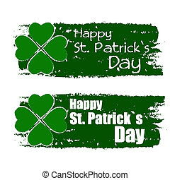 happy St. Patrick's day with shamrock sign, green drawn...