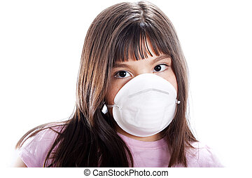 Prevention - Studio shot of young girl wearing protective...