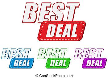 best deal, four colors labels, flat design, business...