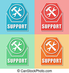 support with tools sign, four colors web icons - support and...