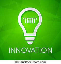 innovation and light bulb sign - text over green background...