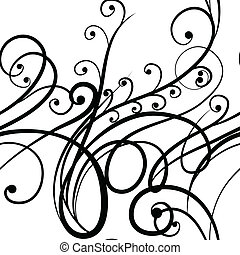Scribble floral ornament - Elegant seamless black and white...