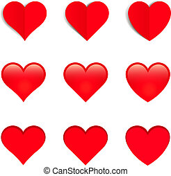 Red Vector Hearts, Isolated On White Background