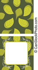 Seamless leafy background and frame
