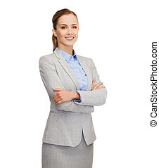 smiling businesswoman - business, education and office...