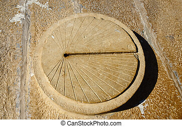 Ancient sundial in Jaisalmer fort,India.Old city listed as...