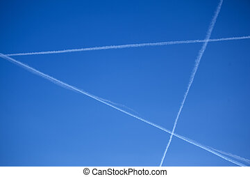 jet trails form the letter A