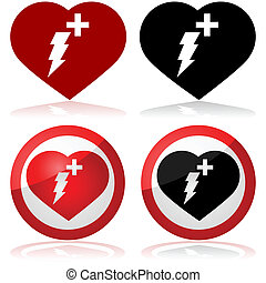 Defibrillator icon set showing a heart with a lightning and...