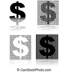 Digital currency - Concept illustration showing a dollar...