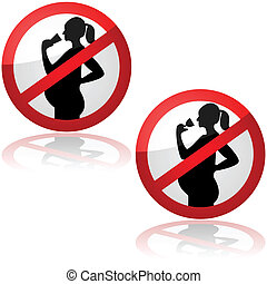 No drinks for pregnant women - Sign showing pregnant women...