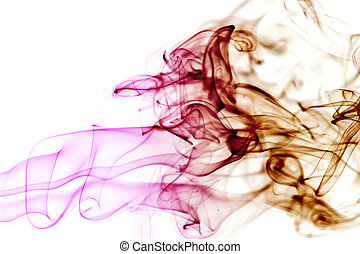 purple and brown smoke like a punch on white background