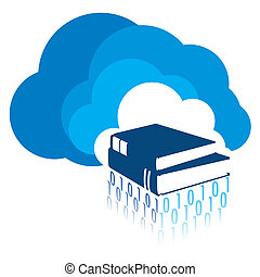 E-Learning - Study and research material placed on a cloud....
