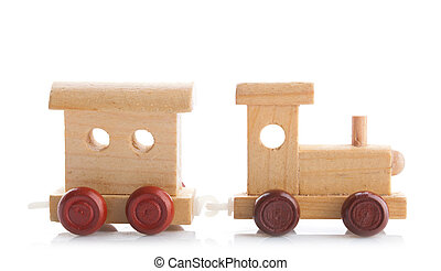Wooden toy train on white background. Studio photo.