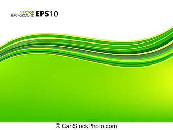 Green waves ecology background - Green clean ecology vector...