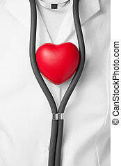 Physician with red heart - Doctor with a red heart and...