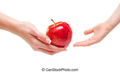 Woman giving apple to children - Woman hand giving an apple...
