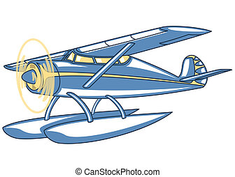 seaplane - Vector retro seaplane. Illustration clip art