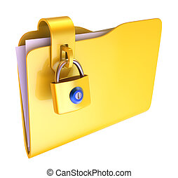 Folder - The yellow folder with hinged lock (3d images)
