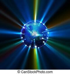 Disco balls - Colorful mirror disco balls with rays (3d...