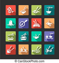 flat seafood icons - Flat Seafood Icon Set
