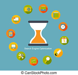 SEO - Search Engine Optimization Flat Icon Vector...