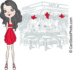 Vector beautiful fashion girl in Paris - Beautiful fashion...