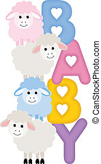 Baby Sheeps - Image representing a baby sheeps, isolated on...