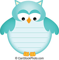 Blue Baby Owl with Label - Scalable vectorial image...